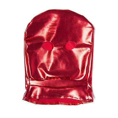 Spandex With Latex Full Head Hood Mask Open eyes Fold Mask Bondage Restraints 7