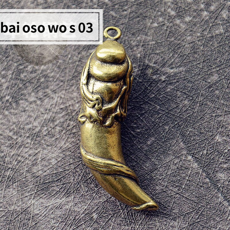 Chinese antique pure brass carved beautiful Mermaid Vintage Pendant 美人鱼