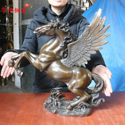 """20"""" Chinese Fengshui Flying horse Pegasus Pure Bronze art Sculpture Statue 4"""