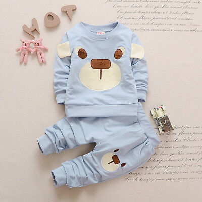 baby boys girls outfits tracksuit pullover top+pants Kids boy clothes set  bear 10
