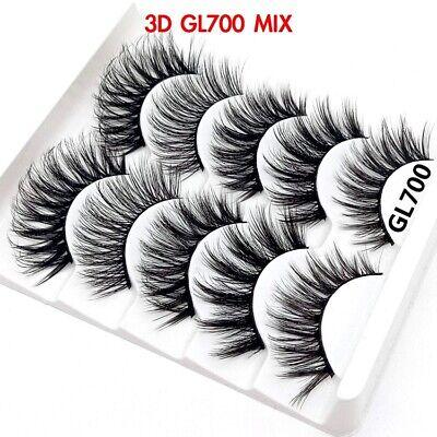 UK 5 Pairs 3D Fake Eyelashes Long Thick Natural False Eye Lashes Set Mink Makeup 10