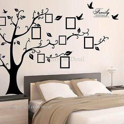 3 Of 8 X Large Family Tree Birds Photo Frame Quotes Wall Stickers Art Decals  Home Decor