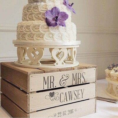 Charming 2 Of 9 Personalised Rustic Wedding Cake Stand, Vintage Wedding Wooden Crate Cake  Stand