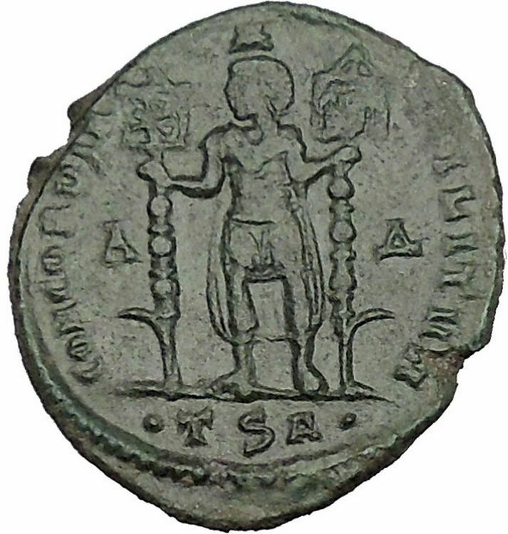 VETRANIO with two labarums 350AD RARE Ancient Roman Coin Christ Monogram  i51159 2