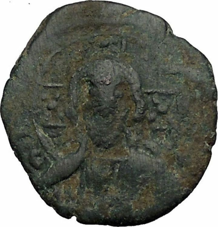 JESUS CHRIST Class H Anonymous Ancient 1071AD Byzantine Follis Coin CROSS i52372 2