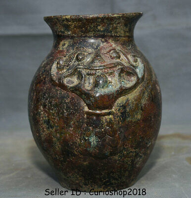 "6.8"" Ancient Old China Dynasty Bronze Wine Vessel Ware Beast Bottle Vase Jar Pot 6"