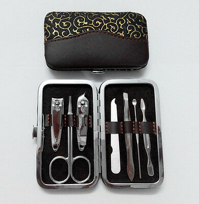 Professional 7pcs Pedicure Manicure Set Nail Care Cuticle Clipper Tool Kit Case 12
