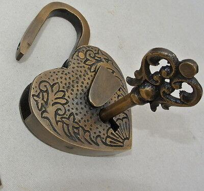 "PADLOCK 3"" Vintage stye antique HEART LOVE brass key lock engraved bridge heavy 4"