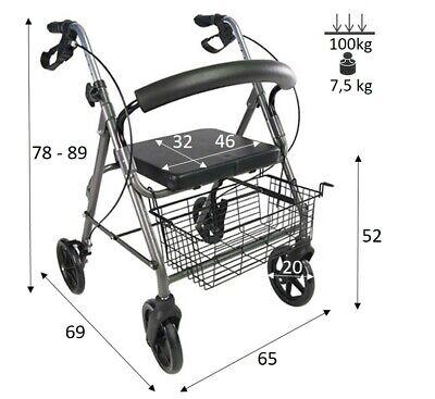 PAROS Déambulateur à roulette pliable 4 roues fauteuil roulant rollator léger 2