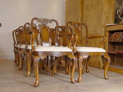 10 English Queen Anne Walnut Dining Chairs Ann Chair 11