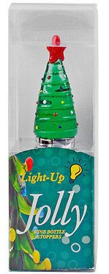 100% Genuine! Jolly Light-Up Glass Wine Bottle Stopper Christmas Tree! 4
