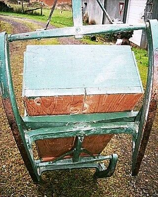 Antique Bob Sled Wagon Childs Wood Sleigh Rustic Pine Iron Porch Display Cart 4