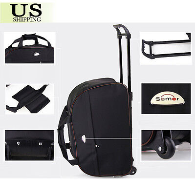 "24"" Rolling Wheeled Tote Duffle Bag Carry On Luggage Travel Suitcase with Wheels 4"