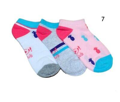 Women Girls Children Kids Cotton Summer Ankle Trainer Socks Multi Buy 3 Pairs 2
