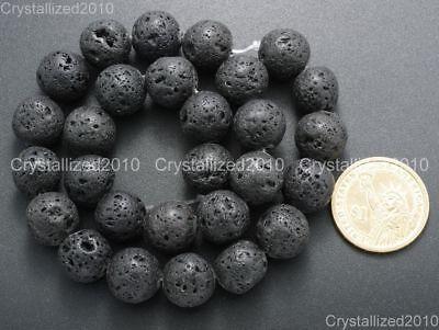 "Natural Black Volcanic Lava Gemstone Round Beads 4mm 6mm 8mm 10mm 12mm 15.5"" 7"
