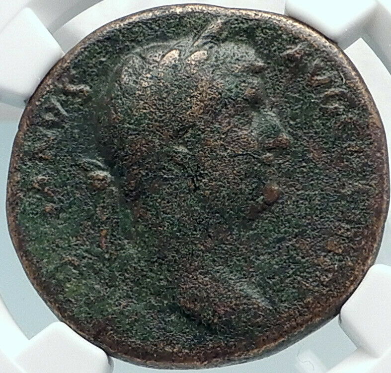 HADRIAN Authentic Ancient 134AD Rome Sestertius HUGE Roman Coin DIANA NGC i81879 2