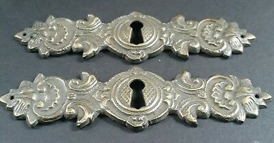 "2 Vintage Antique Style Ornate French Eschutcheons Key Hole Covers 4 3/4"" #E16 4"