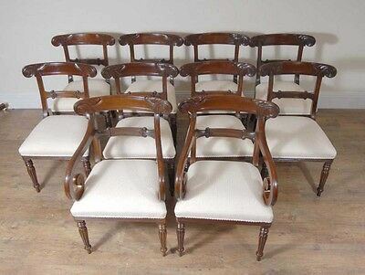 10 English William IV Dining Chairs Regency Chair 10