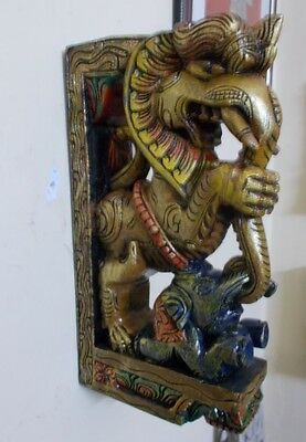 Wooden Bracket Hindu Temple Corbel Yalli Pair Dragon Statue Figure Wall Plaque 7