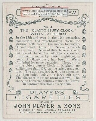 c1392 Glastonbury Turret Clock Wells Cathedral 1920s Ad Trade Card 2
