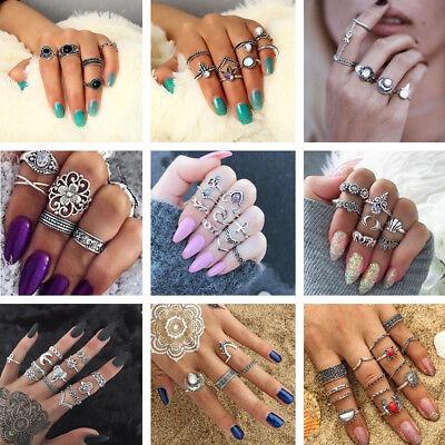 New Bohemian Vintage Women Silver Elephant Turquoise Finger Rings Punk Ring Gift 2