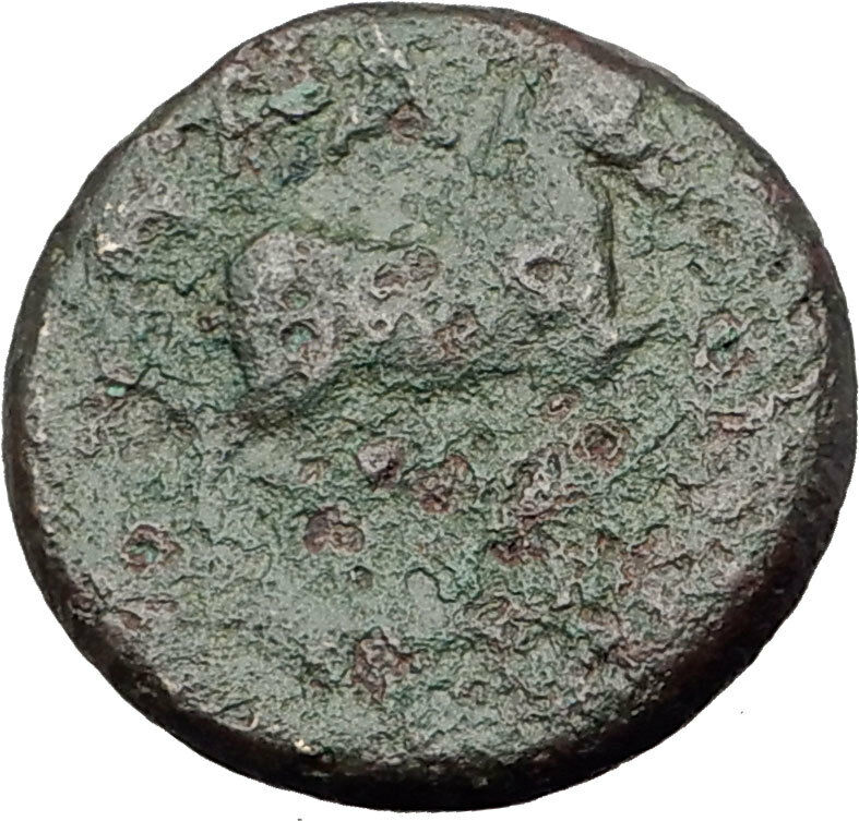 350-100BC Authentic ANCIENT Original Greek City Coin APOLLO and HORSE i63646 2