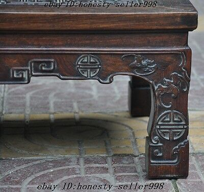 """24"""" Old Chinese Huanghuali Wood Hand Carved""""福""""Text Bat Ancient tables Book Desk 10"""