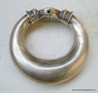 Vintage antique collectible tribal old silver bracelet bangle rajasthan india