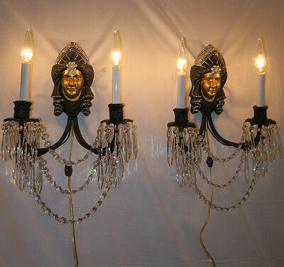 2 Bronze Brass Jeweled Sconces LADY DECO Gothic Medieval Crystal prisms