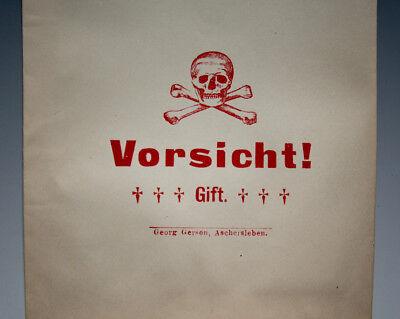 9 x Tüten Vorsicht! Gift mit Totenkopf um 1900