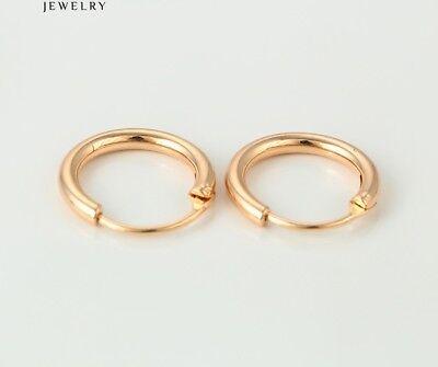 """Gift/"""",607 9ct 9K Yellow /""""Gold Filled/""""  Men Ladies  Plain Hoop Earrings.17mm"""