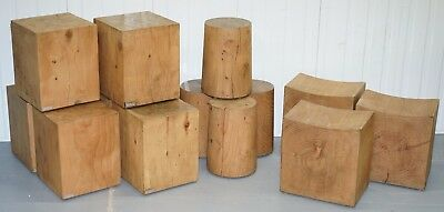 Set Of Three Rrp £2781 Riva 1920 Hand Made In Italy Cedar Wood Stools Part Suite 3