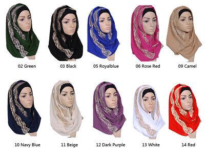 Muslim Women Hijab Rhinestone Long Scarf Islamic Shawls Head Wrap Scarves Shayla 2