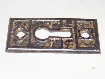 Antique Victorian Door Knob Key Plate Bronzed Cast Iron Fancy Eastlake Hardware 6