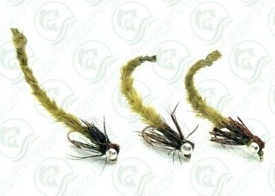 8 x Living Damsel Mayfly Nymphs Trout Fly Fishing Flies Size 12