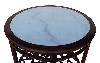 Chinese Oriental Brown Round Marble Stone Top Pedestal Table cs2119 5