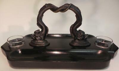 Antique Victorian Ink Stand.  Bronze Dolphins on Black Slate (W/F) (236) 11