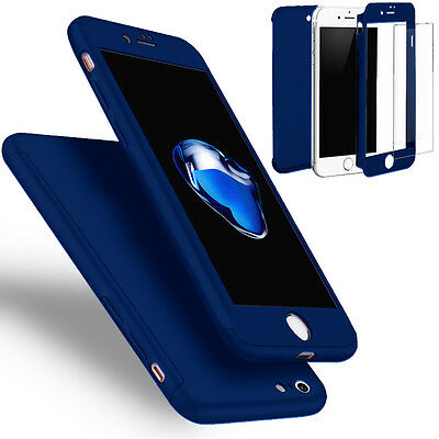 Coque Etui + Verre Trempe Protection Integrale 360 iPhone 6 6S 7 8 Plus X 5S SE 10