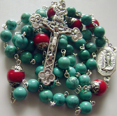 Natural Turquoise & Coral beads Lourdes Water Rosary Cross crucifix Necklace 7