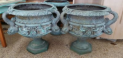 Huge Vintage Bronze Urns Adorned W Dolphins & Angels From Coral Gables Mansion P 11