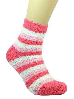 3-12 Pair Non-Skid Cozy Fuzzy Super Soft Winter Striped Solid Slipper Socks 9-11