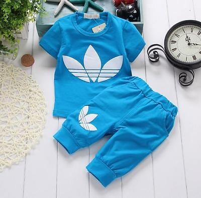 2Pcs set Children kids baby boy and girls T-shirt+pants outfits clothes. 2