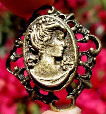ESTATE SALE Brass Cameo Pendant Mourning Vintage Antique Stamped Victorian Gold 2