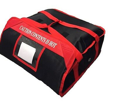"2 PIZZA DELIVERY BAGS (20""x 20""x 7"") Full Insulated  Heavy Duty (1 Red+1 Black) 5"