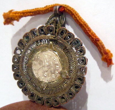 ROMAN STYLE SILVER ANTONINIANUS SET IN OLD VICTORIAN 1800s.GOLD PLATED MEDALLION 6
