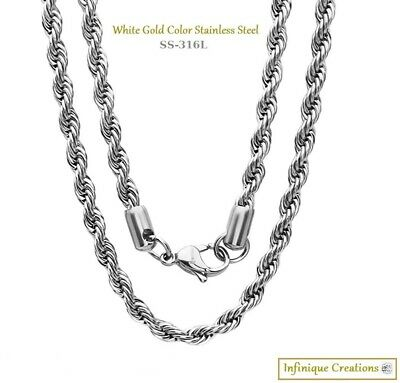 Men Women 316L Stainless Steel Silver Rope Chain Necklace Bracelet 2mm to 8mm 3