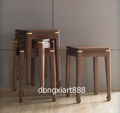 Brass Black walnut solid wood furniture Wooden dining room square High stool 8