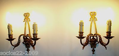antique pair french bronze wall sconces 11