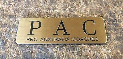 Brushed Gold Name Badge with Text and pin attached Laserable Plastic 70 x 23 mm 8