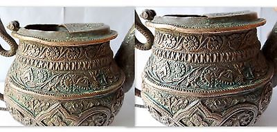 1700 Rare Copper Holy Water Pot Snake Floral Embossed Carved Water Pot Must See 3